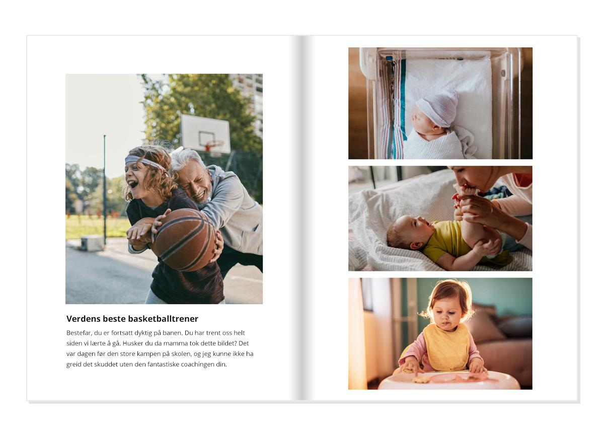 En fotobok åpnet på en dobbeltside. På den venstre siden er det et bilde av en gutt som spiller basketball med bestefaren sin med en bildetekst under.